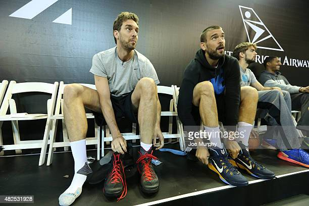 Pau and Marc Gasol of Team World gets ready during practice for the NBA Africa Game 2015 as part of Basketball Without Borders on July 31, 2015 at...