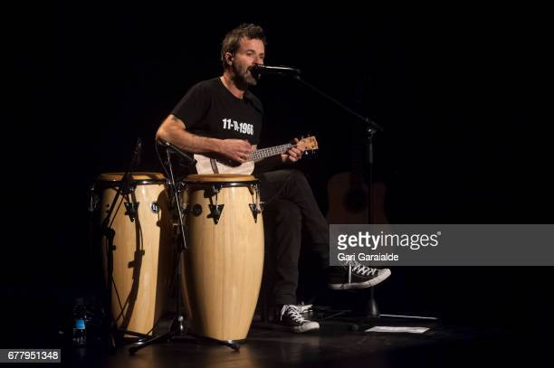 Pau Dones singer of Spanish group Jarabe de Palo performs on stage for the first concert of their 50 palos tour on May 3 2017 in San Sebastian Spain