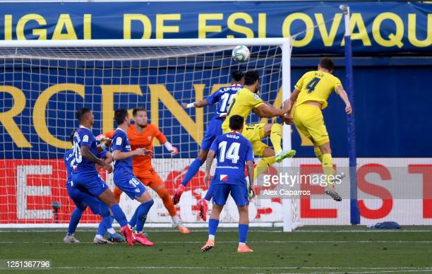 Pau Francisco of Villarreal scores his teams second goal during the Liga match between Villarreal CF and Sevilla FC at Estadio de la Ceramica on June...