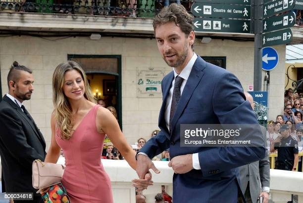 Pau Gasol and Catherine McDonnell attend the wedding of baskettball player Sergio Llull and Almudena Canovas on July 1, 2017 in Menorca, Spain.
