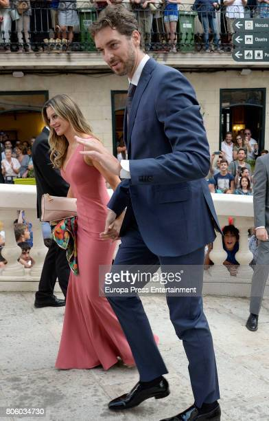 Pau Gasol and Catherine McDonnell attend the wedding of baskettball player Sergio Llull and Almudena Canovas on July 1 2017 in Menorca Spain
