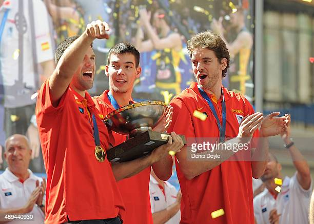 Pau Gasol and Felipe Reyes celebrate after winning the EuroBasket 2015 final at Callao square on September 21 2015 in Madrid Spain Spain beat...