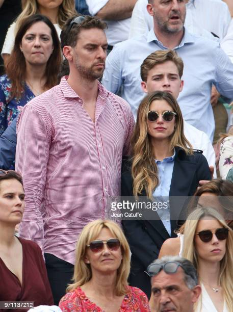 Pau Gasol and girlfriend Catherine McDonnell during the men's final on Day 15 of the 2018 French Open at Roland Garros stadium on June 10 2018 in...