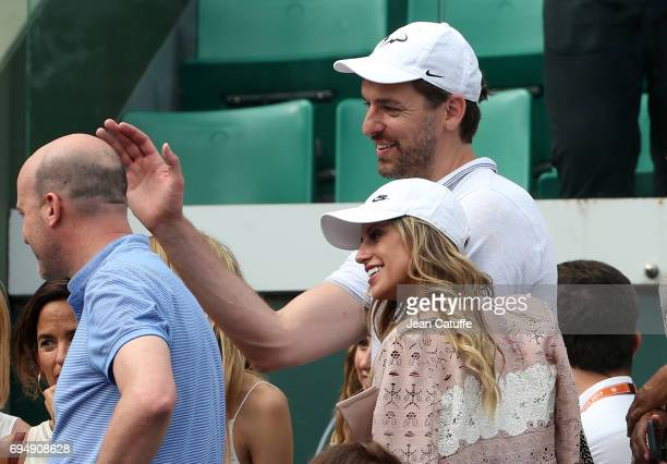 Pau Gasol and his girlfriend Catherine McDonnell attend Rafael Nadal's victory on day 15 of the 2017 French Open second Grand Slam of the season at...