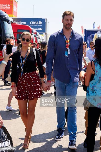 Pau Gasol and his girlfriend Catherine McDonnell during the qualifying of the Gran Premi Monster Energy de Catalunya Circuit of Catalunya Montmelo...