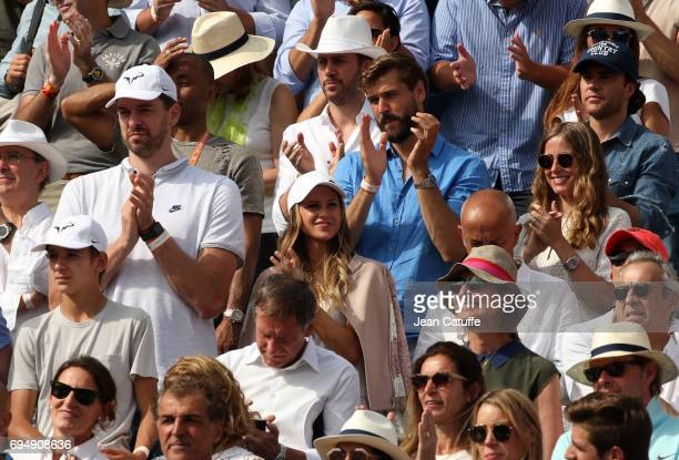 Pau Gasol and his girlfriend Catherine McDonnell Fernando Llorente and his wife Maria Llorente attend Rafael Nadal's victory on day 15 of the 2017...
