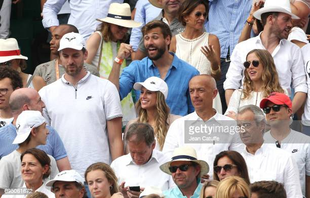 Pau Gasol and his girlfriend Catherine McDonnell Fernando Llorente and his wife Maria Llorente attend Rafael Nadal's victory during the men's final...