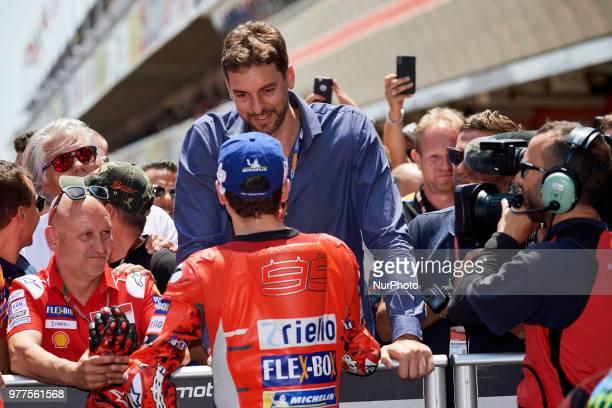 Pau Gasol and Jorge Lorenzo of Spain and Ducati Team during the qualifying of the Gran Premi Monster Energy de Catalunya Circuit of Catalunya...