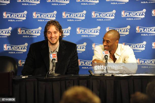 Pau Gasol and Kobe Bryan of the Los Angeles Lakers field question from the media following their victory over the Houston Rockets in Game Seven of...