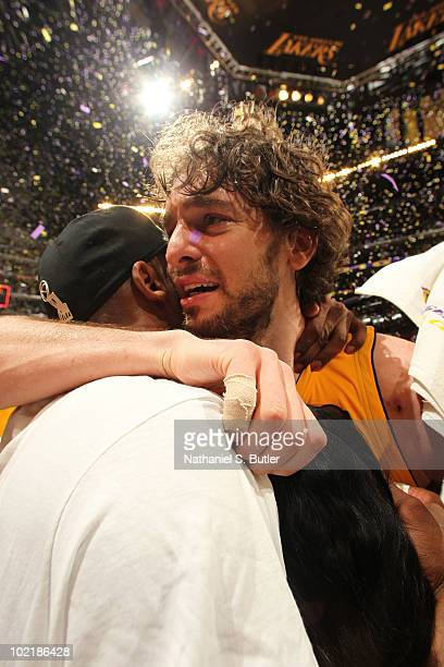 Pau Gasol and Kobe Bryant of the Los Angeles Lakers celebrate after winning over the Boston Celtics in Game Seven of the 2010 NBA Finals on June 17,...