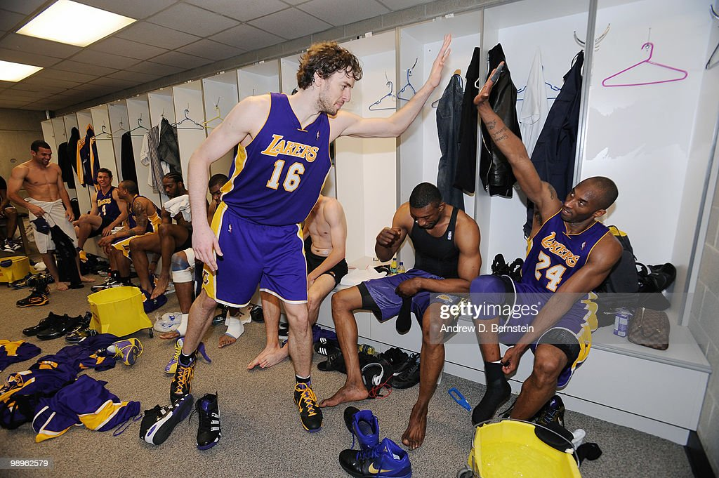 Pau Gasol and Kobe Bryant of the Los Angeles Lakers in the locker room after the game win against the Utah Jazz in Game Four of the Western Conference Semifinals during the 2010 NBA Playoffs at the EnergySolutions Arena on May 10, 2010 in Salt Lake City, Utah.