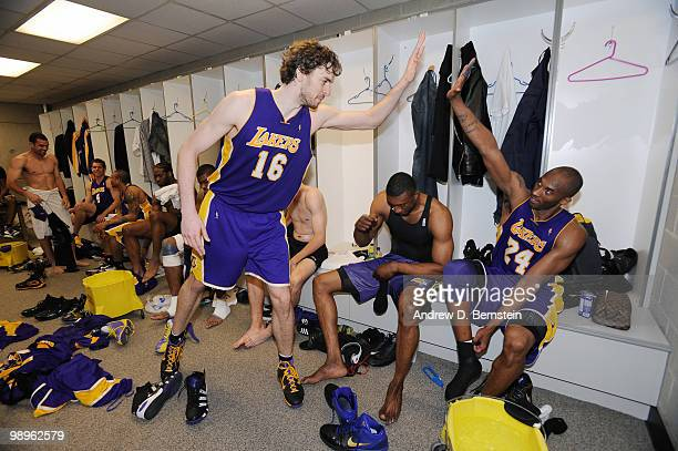 Pau Gasol and Kobe Bryant of the Los Angeles Lakers in the locker room after the game win against the Utah Jazz in Game Four of the Western...