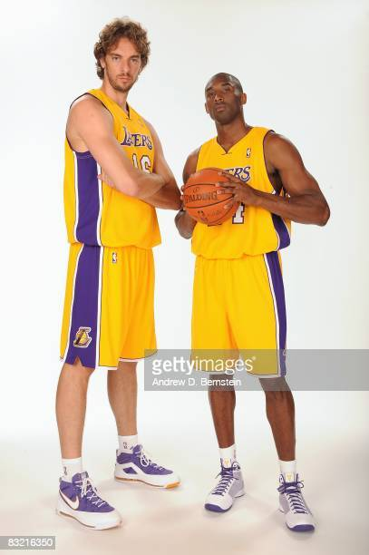 Pau Gasol and Kobe Bryant of the Los Angeles Lakers pose for a portrait during NBA Media Day on September 29 2008 at the Toyota Sports Center in El...