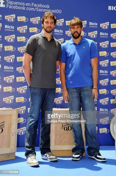 Pau Gasol and Marc Gasol delivery 150 bicycles of 'San Miguel 00' for a charity cause on June 27 2013 in Barcelona Spain