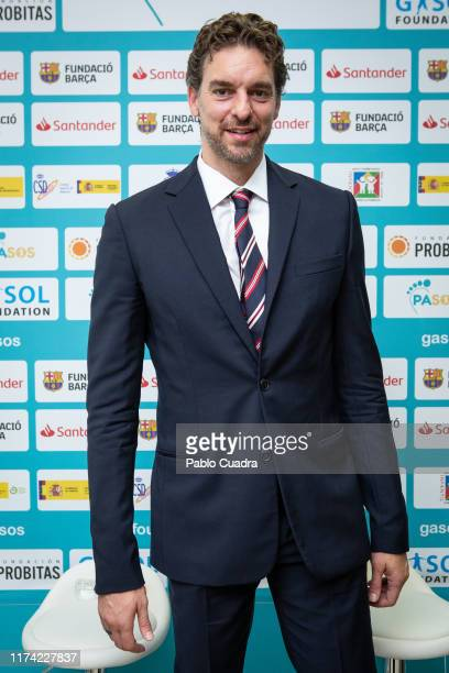 Pau Gasol, dressed in Tommy Hilfiger, presents 'Pasos', a study launched by the Gasol Foundation on September 03, 2019 in Madrid, Spain.