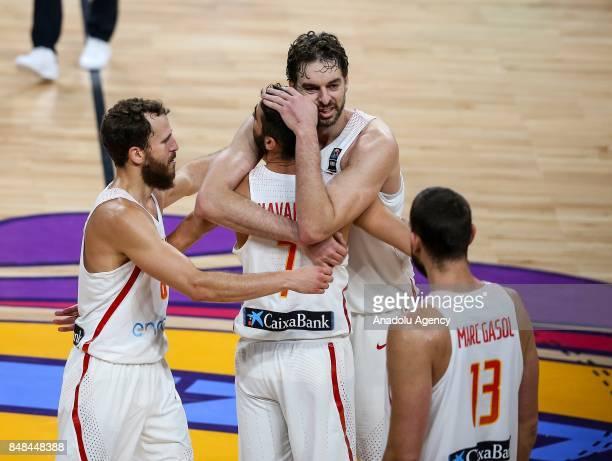 Pau Gasol JuanCarlos Navarro Sergio Rodriguez and Marc Gasol of Spain celebrate their teams' victory after the FIBA Eurobasket 2017 semi final...