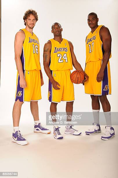 Pau Gasol Kobe Bryant and Andrew Bynum of the Los Angeles Lakers pose for a portrait during NBA Media Day on September 29 2008 at the Toyota Sports...