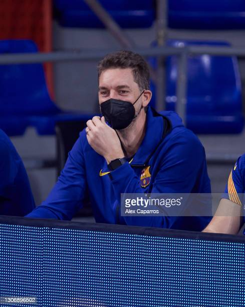 Pau Gasol looks on during the Liga Endesa match between FC Barcelona and Casademont Zaragoza at Palau Blaugrana on March 13, 2021 in Barcelona,...