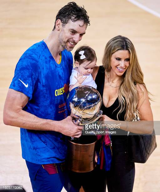 Pau Gasol of FC Barcelona with his daughter Elisabet Gianna Gasol and his wife Catherine McDonnell celebrate after becoming champions of the Liga ACB...