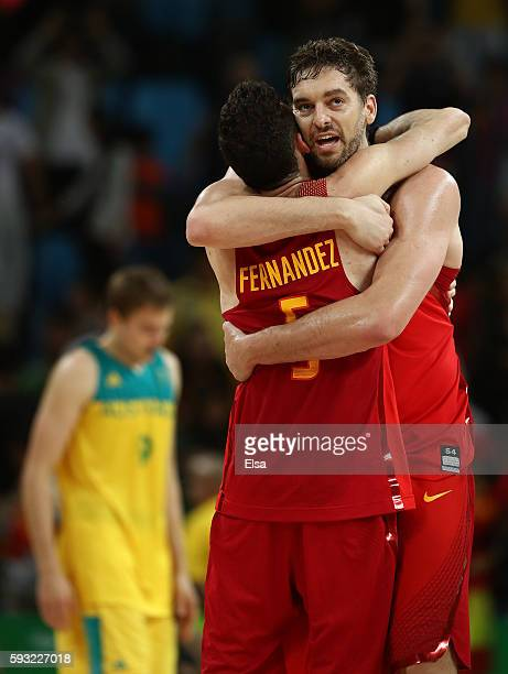 Pau Gasol of Spain and Rudy Fernandez of Spain celebrate winning the Men's Basketball Bronze medal game between Australia and Spain on Day 16 of the...