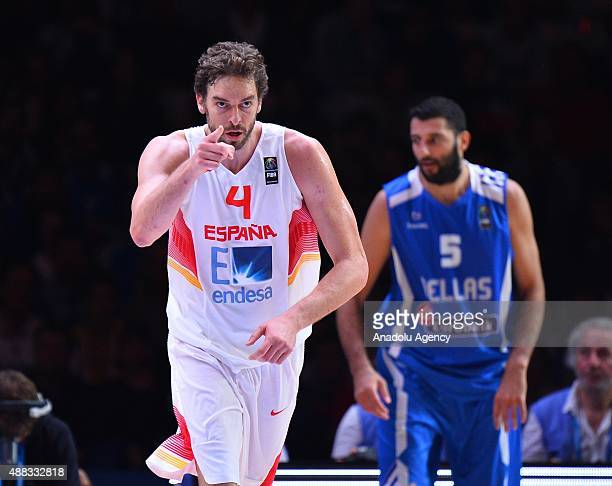 Pau Gasol of Spain celebrates after a point during the EuroBasket 2015 Quarterfinal match between Spain and Greece at the Pierre Mauroy Stadium in...
