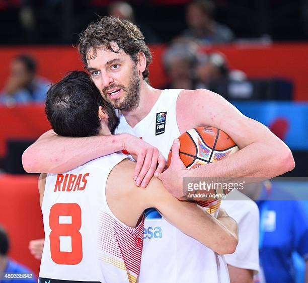 Pau Gasol of Spain celebrates after winning the EuroBasket 2015 Final match against Lithuania at the Pierre Mauroy Stadium in Lille on September 20...