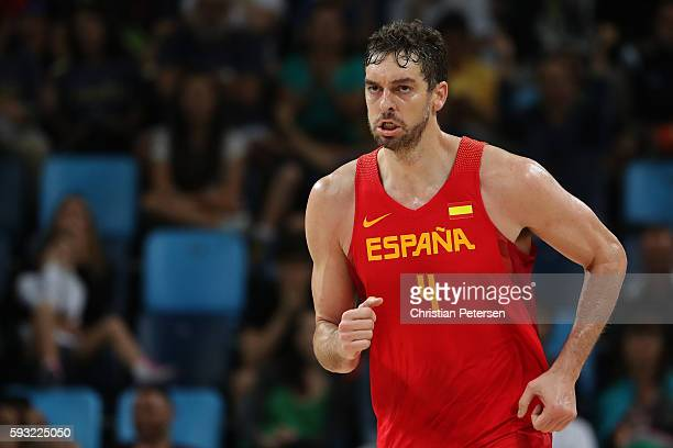 Pau Gasol of Spain celebrates during the Men's Basketball Bronze medal game between Australia and Spain on Day 16 of the Rio 2016 Olympic Games at...