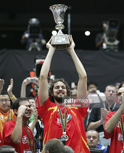 Pau Gasol of Spain celebrates with teammates their victory during a ceremony at 2006 FIBA World Championship on September 3, 2006 in Saitama, Japan....