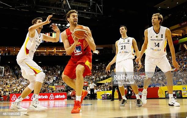 Pau Gasol of Spain drives to the basket against Germany during the FIBA EuroBasket 2015 Group B basketball match between Germany and Spain at Arena...