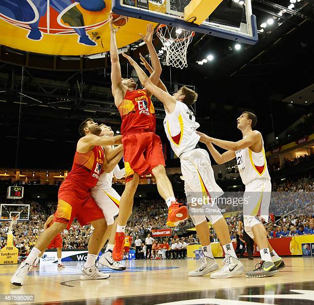 Pau Gasol of Spain drives to the basket against Tibor Pleiss of Germany during the FIBA EuroBasket 2015 Group B basketball match between Germany and...