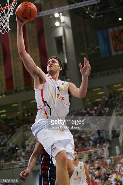 Pau Gasol of Spain goes to the basket against the USA during the mens' basketball quarterfinal game on August 26 2004 during the Athens 2004 Summer...