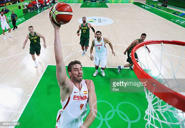 Pau Gasol of Spain goes to the basket during the Men's Preliminary Round Group B between Spain and Lithuania on Day 8 of the Rio 2016 Olympic Games...