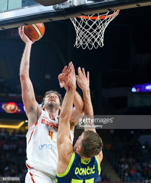 Pau Gasol of Spain in action against Luka Doncic of Slovenia during the FIBA Eurobasket 2017 semi final basketball match between Spain and Slovenia...