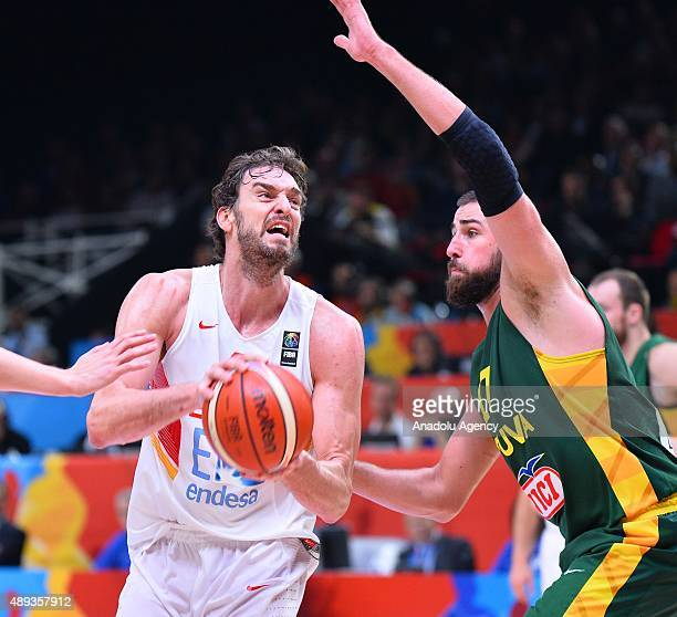 Pau Gasol of Spain in action during the EuroBasket 2015 Final match between Spain and Lithuania at the Pierre Mauroy Stadium in Lille on September 20...