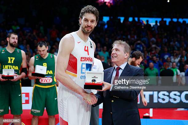 Pau Gasol of Spain is MVP of the EuroBasket event at Stade Pierre Mauroy on September 20 2015 in Villeneuve d'Ascq France