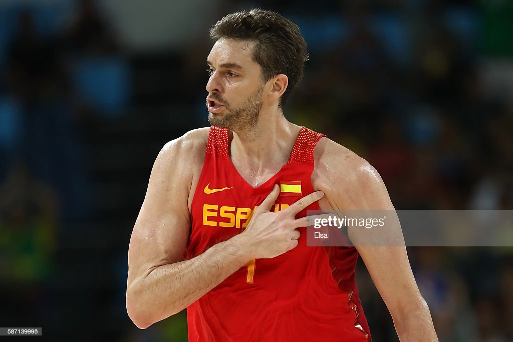 Pau Gasol #4 of Spain reacts after a shot against Croatia during a Men's preliminary round basketball game between Croatia and Spain on Day 2 of the Rio 2016 Olympic Games at Carioca Arena 1 on August 7, 2016 in Rio de Janeiro, Brazil.