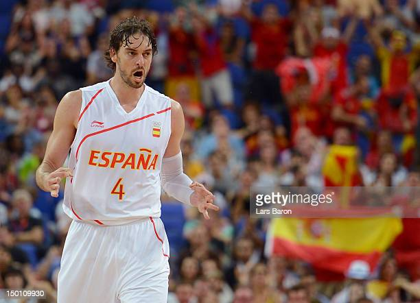Pau Gasol of Spain reacts against Russia during the Men's Basketball semifinal match on Day 14 of the London 2012 Olympic Games at the North...