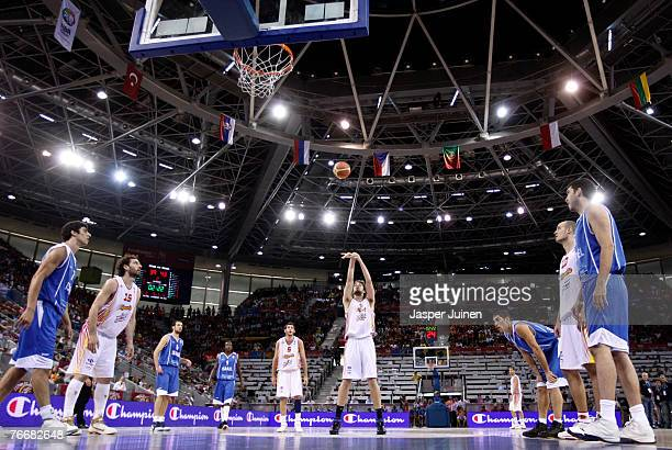 Pau Gasol of Spain shoots a free throw during the FIBA Eurobasket 2007 qualifying round group E match between Spain and Israel at the Telefonica...