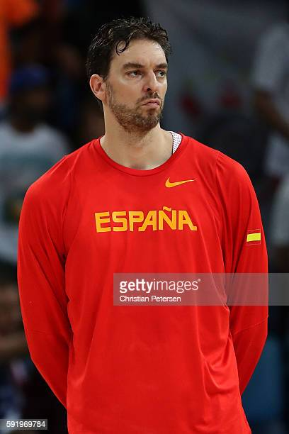 Pau Gasol of Spain stands on the court prior to the Men's Semifinal match against the United States on Day 14 of the Rio 2016 Olympic Games at...