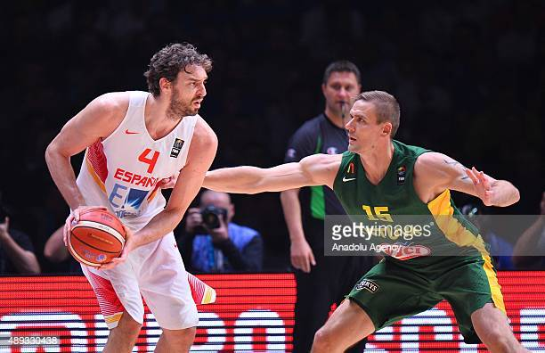 Pau Gasol of Spain vies against Robertas Javtokas of Lithuania during the EuroBasket 2015 Final match between Spain and Lithuania at the Pierre...