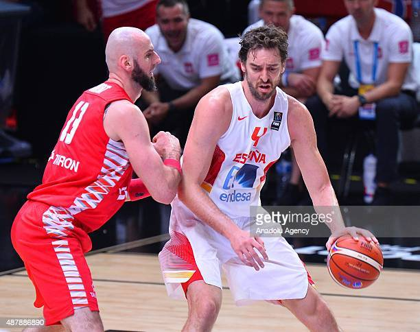 Pau Gasol of Spainin action during EuroBasket 2015 round of 16 basketball match between Spain and Poland at the Pierre Mauroy Stadium in Lille...