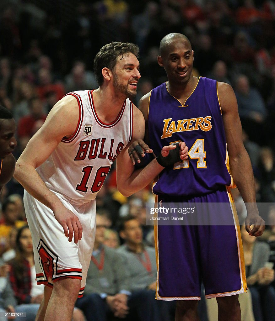 Pau Gasol #16 of the Chicago Bulls and Kobe Bryant #24 of the Los Angeles Lakers smile and chat as they await a free-throw at the United Center on February 21, 2016 in Chicago, Illinois. The Bulls defeated the Lakers 126-115.