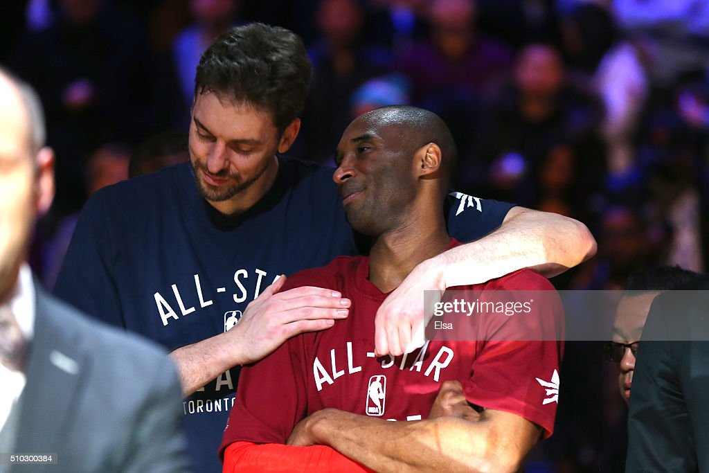 Pau Gasol #16 of the Chicago Bulls and the Eastern Conference and Kobe Bryant #24 of the Los Angeles Lakers and the Western Conference look on late in the game during the NBA All-Star Game 2016 at the Air Canada Centre on February 14, 2016 in Toronto, Ontario.