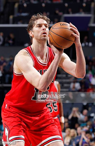 Pau Gasol of the Chicago Bulls attempts a free throw shot against the Charlotte Hornets on March 13, 2015 at Time Warner Cable Arena in Charlotte,...