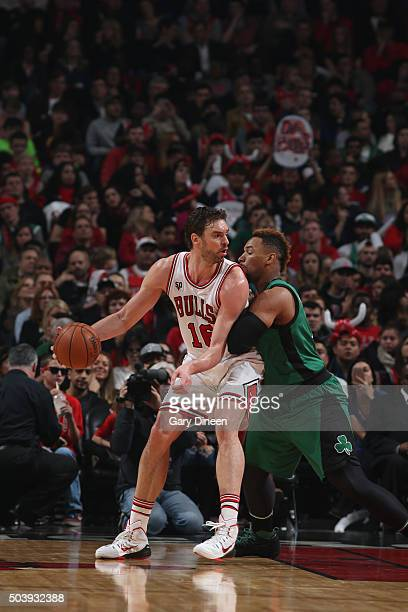 Pau Gasol of the Chicago Bulls handles the ball against the Boston Celtics on January 7 2016 at the United Center in Chicago Illinois NOTE TO USER...
