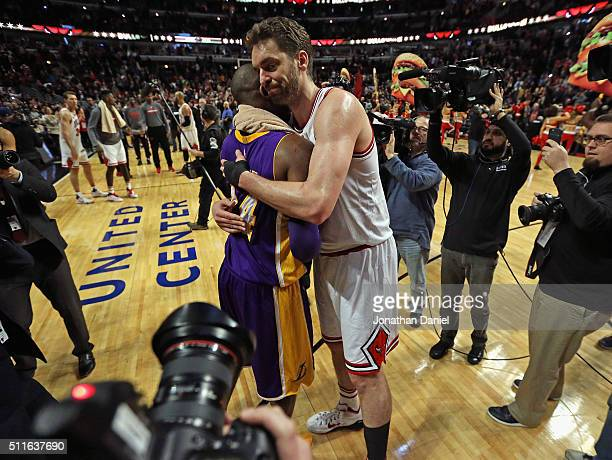 Pau Gasol of the Chicago Bulls hugs Kobe Bryant of the Los Angeles Lakers after a game at the United Center on February 21 2016 in Chicago Illinois...