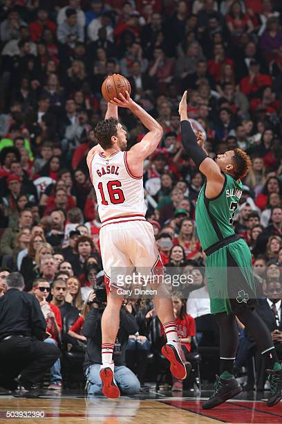 Pau Gasol of the Chicago Bulls shoots the ball against the Boston Celtics on January 7 2016 at the United Center in Chicago Illinois NOTE TO USER...