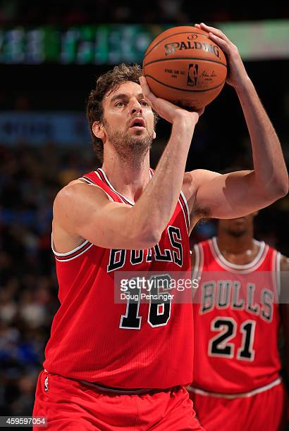 Pau Gasol of the Chicago Bulls takes a free throw against the Denver Nuggets at Pepsi Center on November 25, 2014 in Denver, Colorado. The Nuggets...