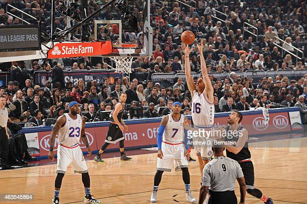 Pau Gasol of the Eastern Conference grabs a rebound during the 64th NBA AllStar Game presented by KIA as part of the 2015 NBA AllStar Weekend on...