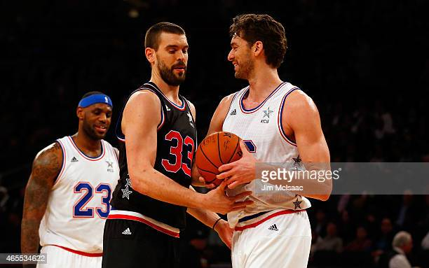 Pau Gasol of the Eastern Conference in action against Marc Gasol of the Western Conference during the 2015 NBA AllStar Game at Madison Square Garden...